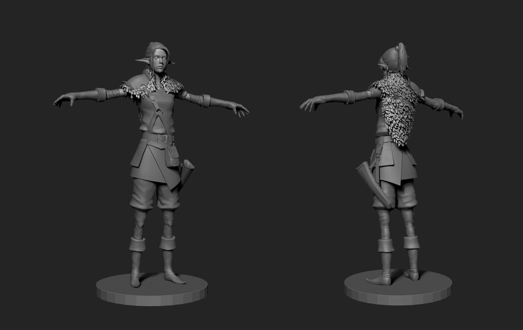 The high poly of the main character.
