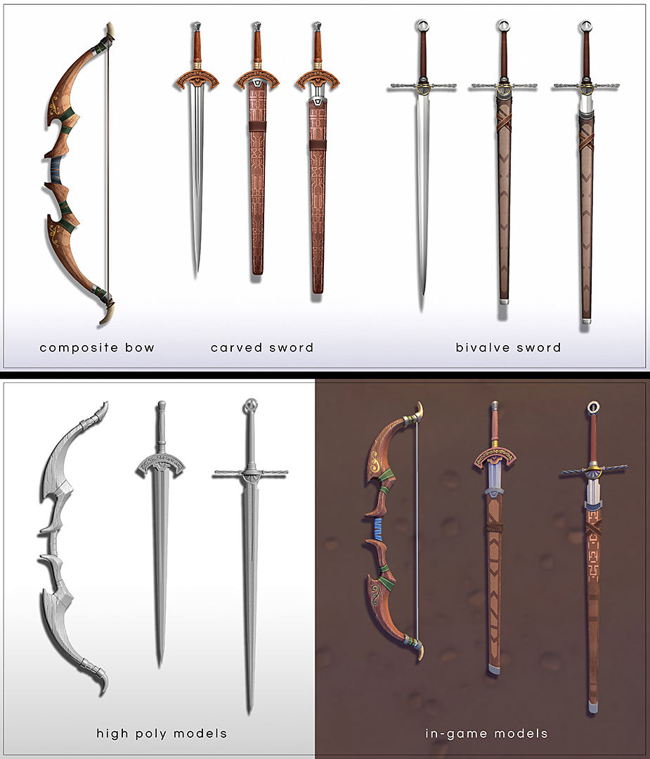 In the beginning of the game you are most likely to found this set of weapons.